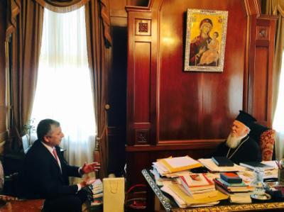 Τον Οικουμενικό Πατριάρχη Βαρθολομαίο επισκέφθηκε σήμερα ο Πρόεδρος του Ι.Σ.Α. και της Κ.Ε.Δ.Ε Γ. Πατούλης