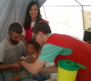 Εμβολιασμός 200 παιδιών κατά της ηπατίτιδας Α στο Κέντρο Φιλοξενίας προσφύγων στη Ριτσώνα Χαλκίδας από τον Ελληνικό Ερυθρό Σταυρό